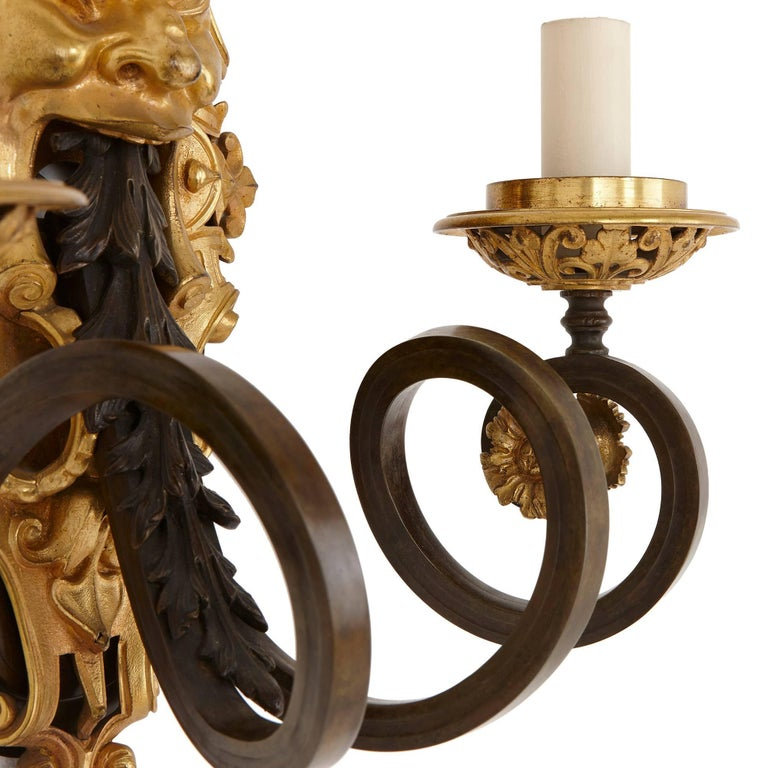 French Set of Four Ormolu and Patinated Bronze Antique Wall Lights For Sale