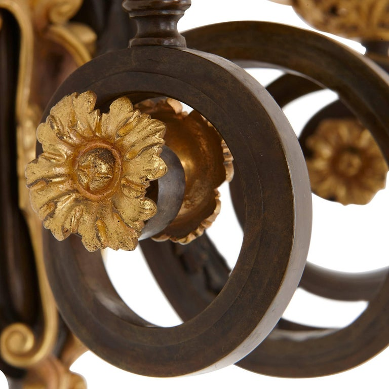 Rococo Set of Four Ormolu and Patinated Bronze Antique Wall Lights For Sale