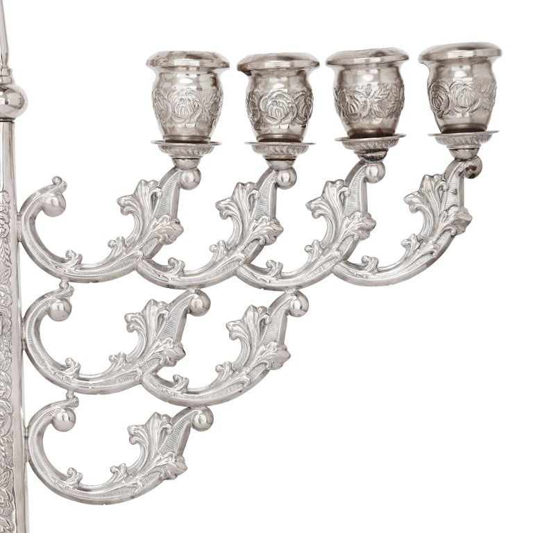 Antique Judaica Hannukah Menorah In Repousse Silver For