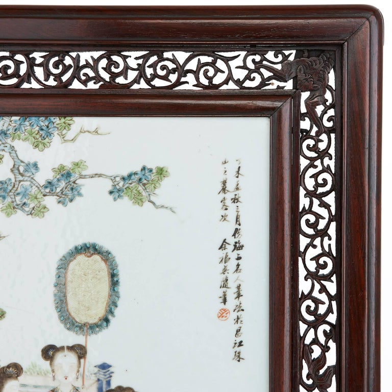 Hand-Carved Antique Chinese Rosewood Screen with Painted Porcelain Plaque