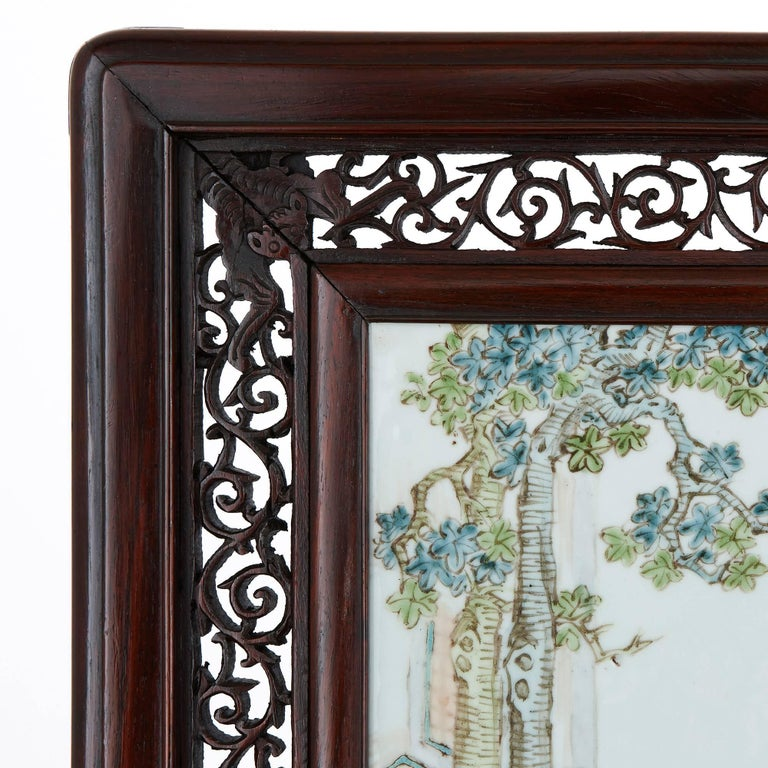 Chinese Export Antique Chinese Rosewood Screen with Painted Porcelain Plaque