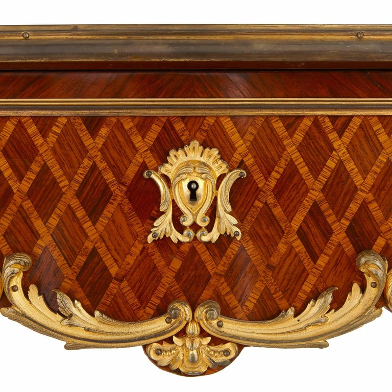 Ormolu French Antique Parquetry Side Table in Louis XV Style For Sale