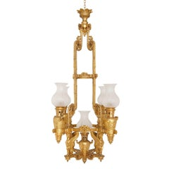 19th Century French Empire Style Gilt Bronze Chandelier