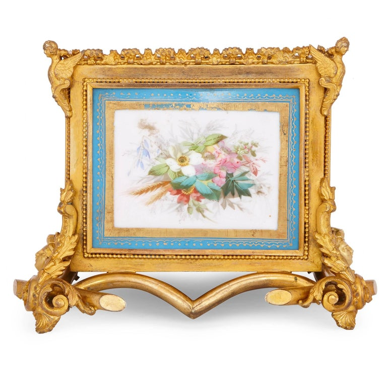 Rococo French Antique Sevres Style Porcelain and Gilt Bronze Jardiniere  For Sale