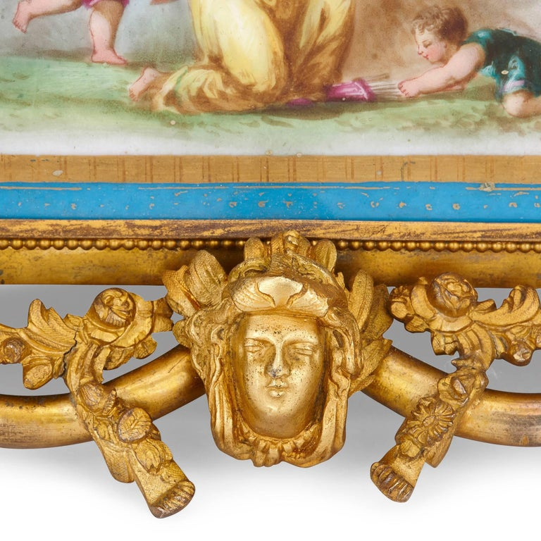 19th Century French Antique Sevres Style Porcelain and Gilt Bronze Jardiniere  For Sale