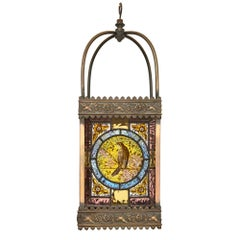 Stained Glass and Gilt Metal Antique Hanging Lantern