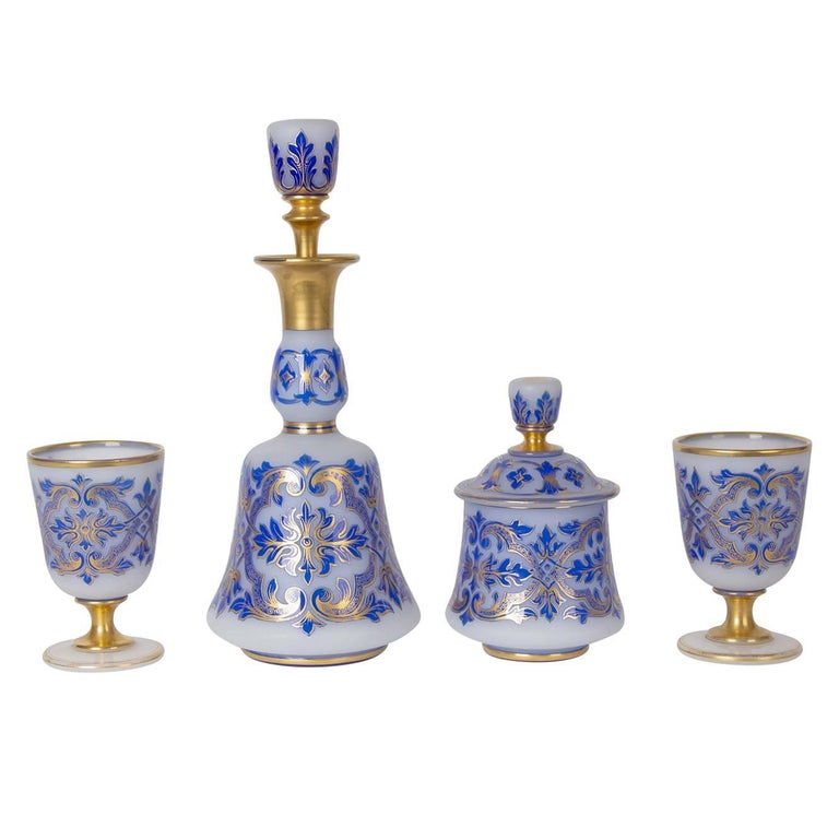 Four-Piece Luxury Drinking Set with Blue Glass Overlay For Sale