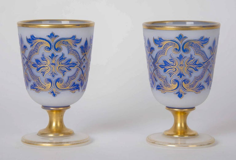 Opaline Glass Four-Piece Luxury Drinking Set with Blue Glass Overlay For Sale