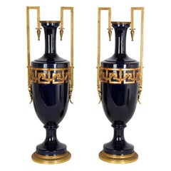 Pair of Neoclassical Style Faience and Gilt Metal Vases