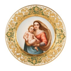 Antique Dresden Porcelain Cabinet Plate Depicting the Madonna after Raphael