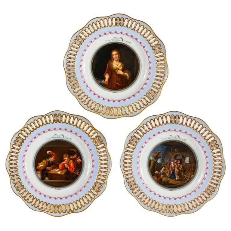 Three Meissen Porcelain Plates Showing Old Master Paintings
