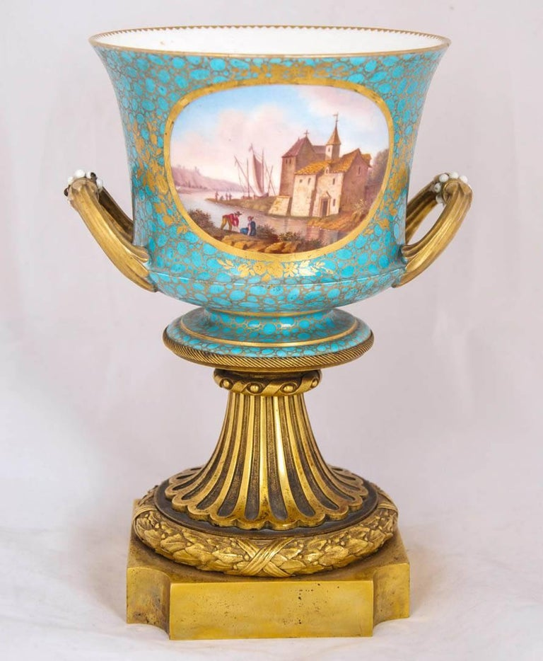 French Antique Pair of Ormolu Mounted Sevres Style Porcelain Cachepot Vases For Sale