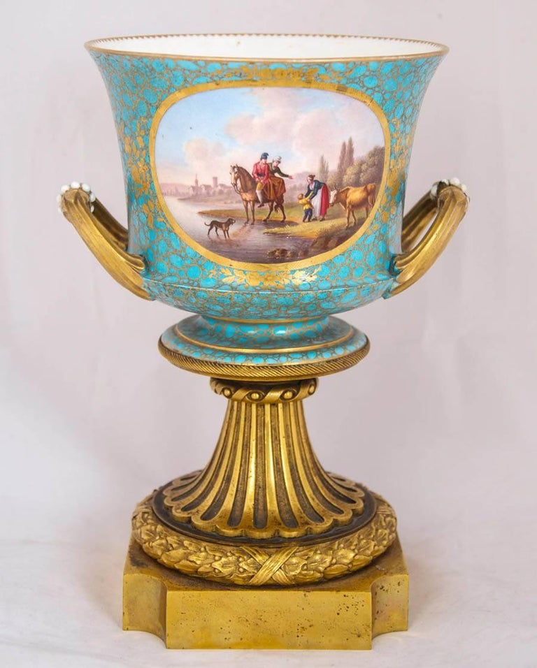 Rococo Antique Pair of Ormolu Mounted Sevres Style Porcelain Cachepot Vases For Sale
