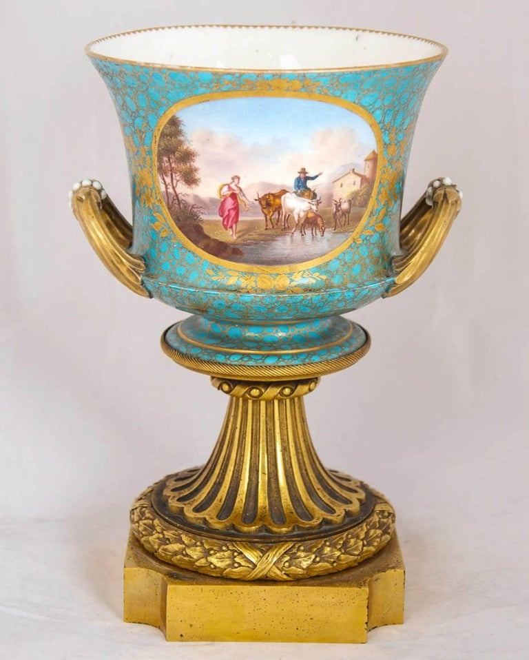 Gilt Antique Pair of Ormolu Mounted Sevres Style Porcelain Cachepot Vases For Sale