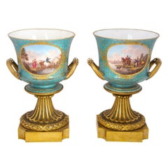 Antique Pair of Ormolu Mounted Sevres Style Porcelain Cachepot Vases