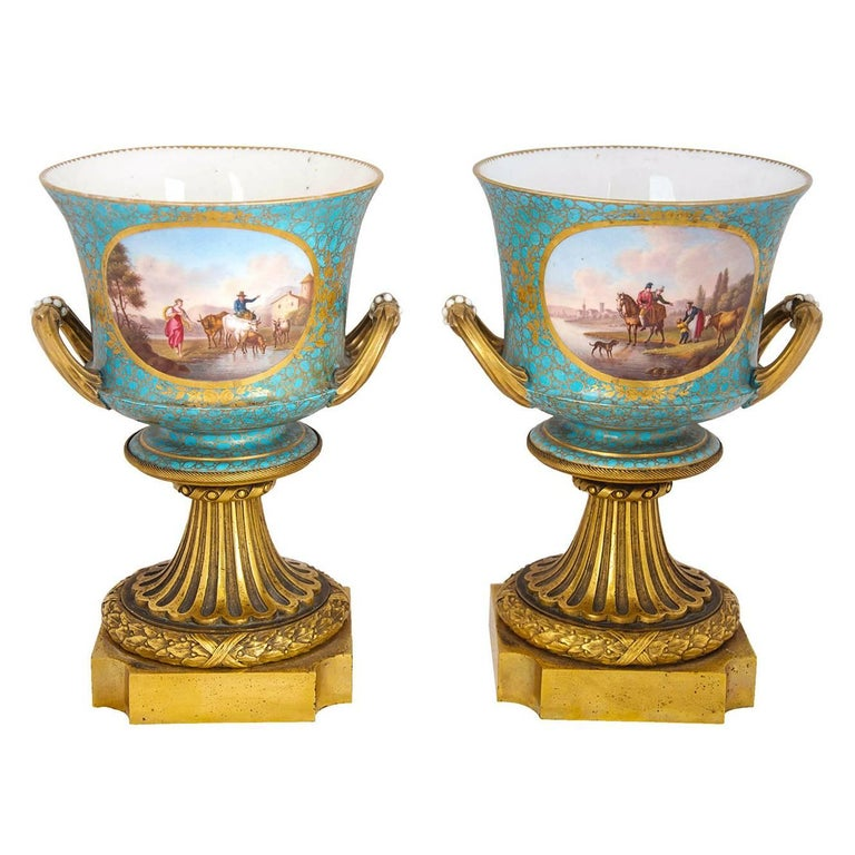 Antique Pair of Ormolu Mounted Sevres Style Porcelain Cachepot Vases For Sale
