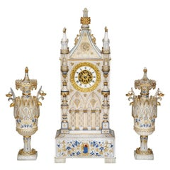 Three Piece Alabaster Clock Garniture in the Form of a Neo-Gothic Cathedral