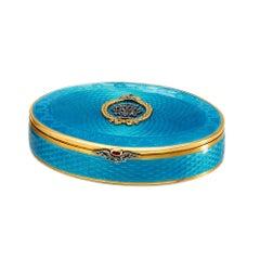 Tsar Nicholas I Turquoise Guilloche Enamel and Silver Gilt Pill Box