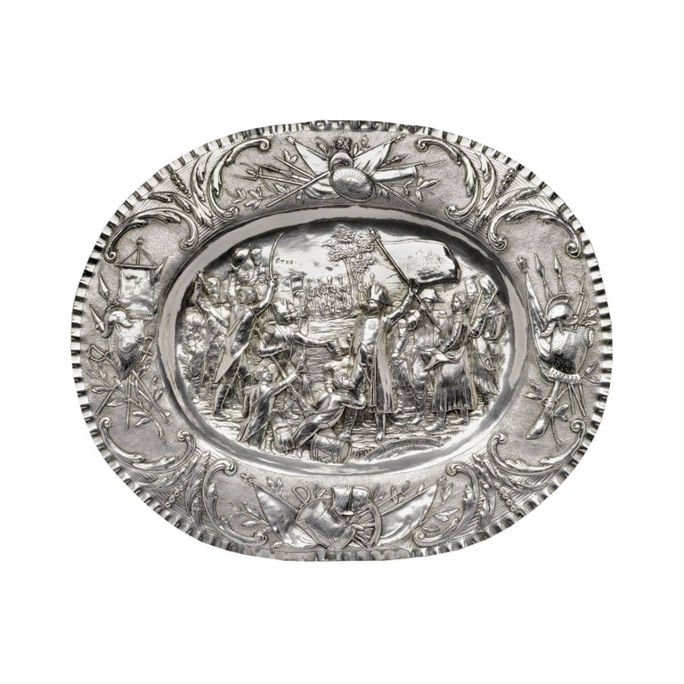 German Silver Tray Depicting Napoleon's Return from Exile