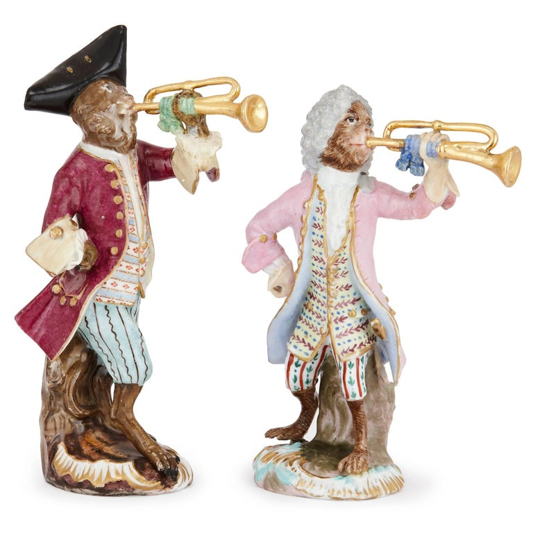 19th Century Meissen Porcelain Nine Piece Monkey Band Set In Good Condition For Sale In London, GB
