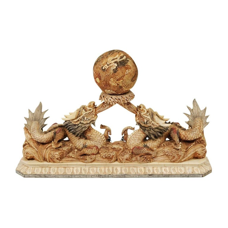 Chinese Bone Carving of Dragons For Sale
