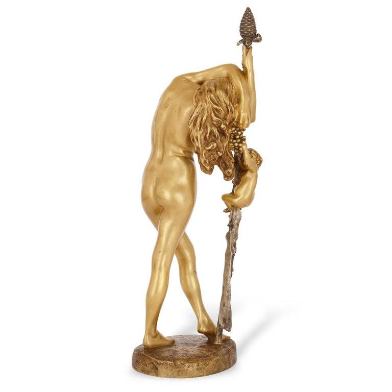 Classical Greek 19th Century French Gilt Bronze Sculpture of a Baccante, by Jean-Léon Gérôme For Sale