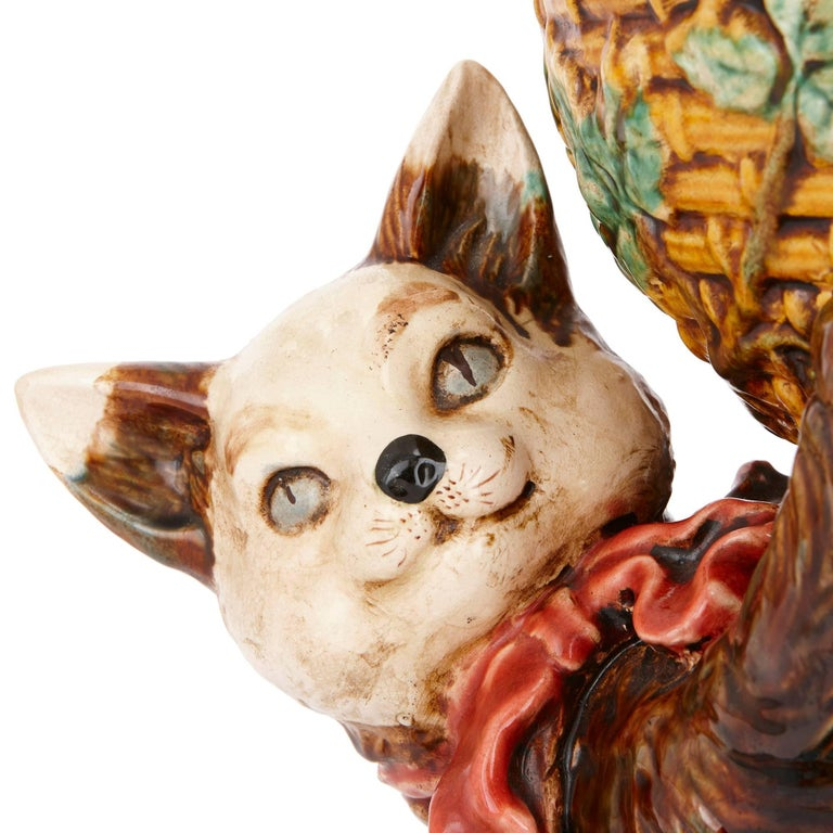 French Antique Majolica Bowl with Cat by Jerome Massier For Sale