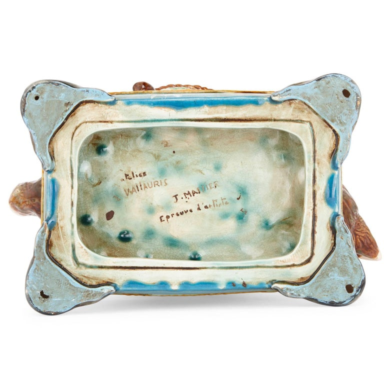 20th Century Antique Majolica Bowl with Cat by Jerome Massier For Sale