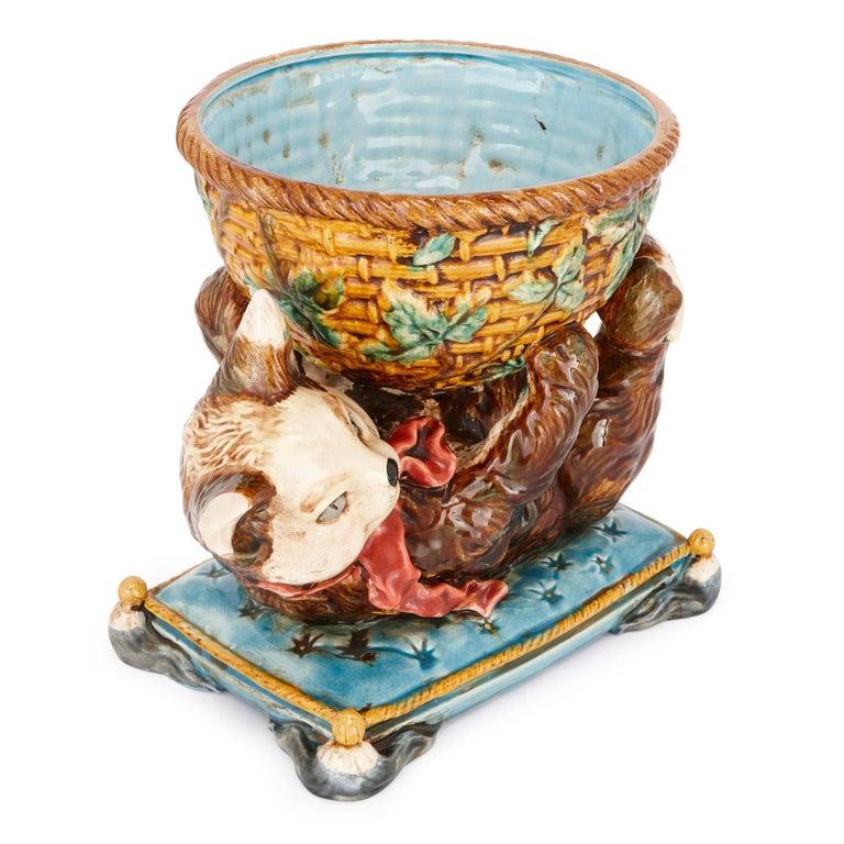 Belle Époque Antique Majolica Bowl with Cat by Jerome Massier For Sale