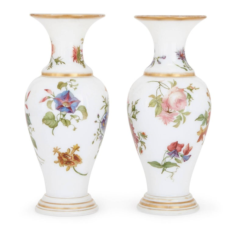 French Pair of Floral Opaline Glass Vases Attributed to Baccarat For Sale