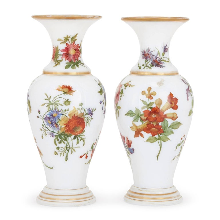Belle Époque Pair of Floral Opaline Glass Vases Attributed to Baccarat For Sale