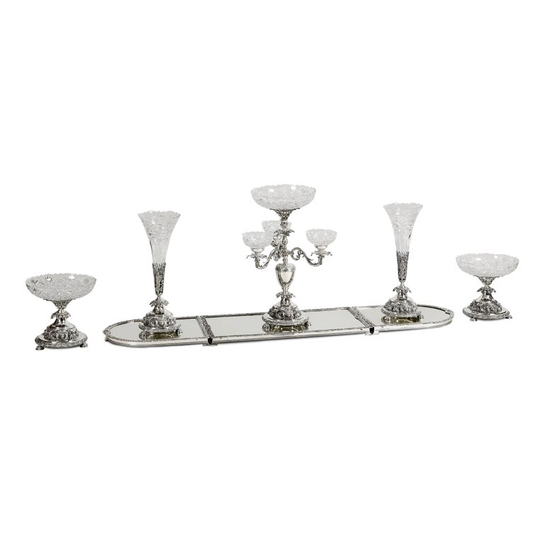Sheffield Silver Plate and Crystal Six-Piece Centrepiece Suite