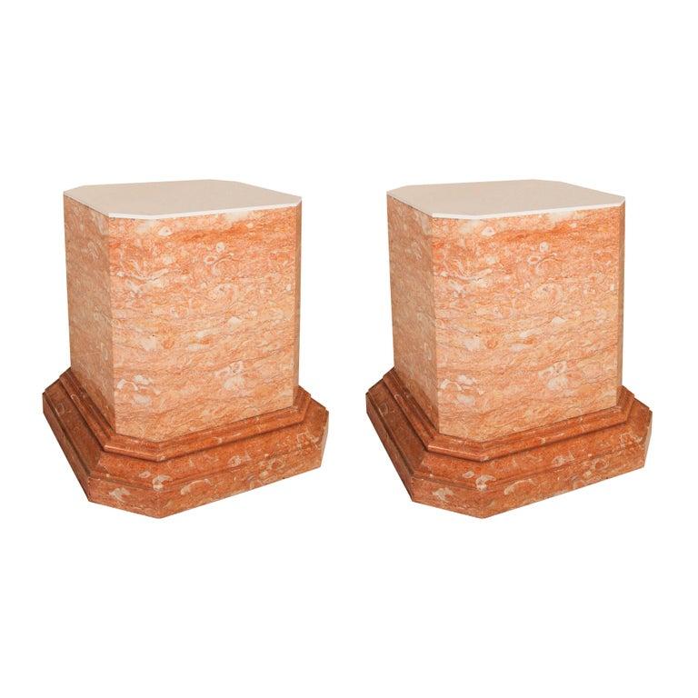 Pair of 19th Century Italian pink marble pedestals
