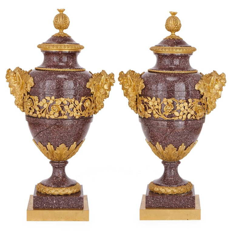 This fine pair of neoclassical style vases are by Maison Millet, the renowned 19th century Paris-based firm, which was established in 1853.