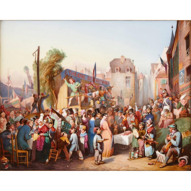 The 1844 summer market in the town of Lengerich, in the western German province of Westphalia, is the subject of this antique KPM porcelain plaque, making it an interesting piece of social history as well as a beautiful decorative piece. The scene