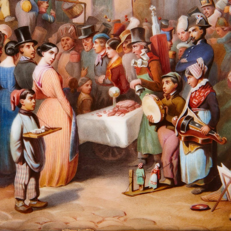 Porcelain Plaque of a 19th Century German Market by KPM In Excellent Condition For Sale In London, GB