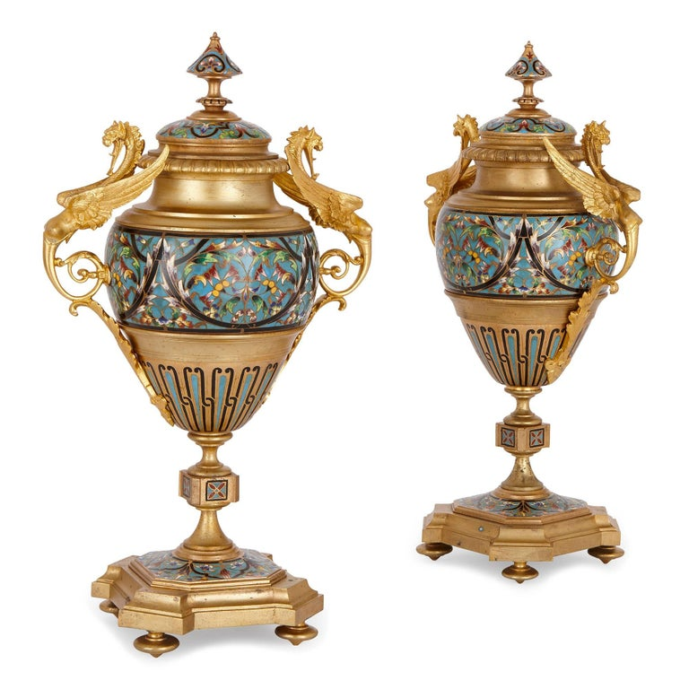 Antique French Neoclassical Style Ormolu and Cloisonne Enamel Clock Set For Sale 2