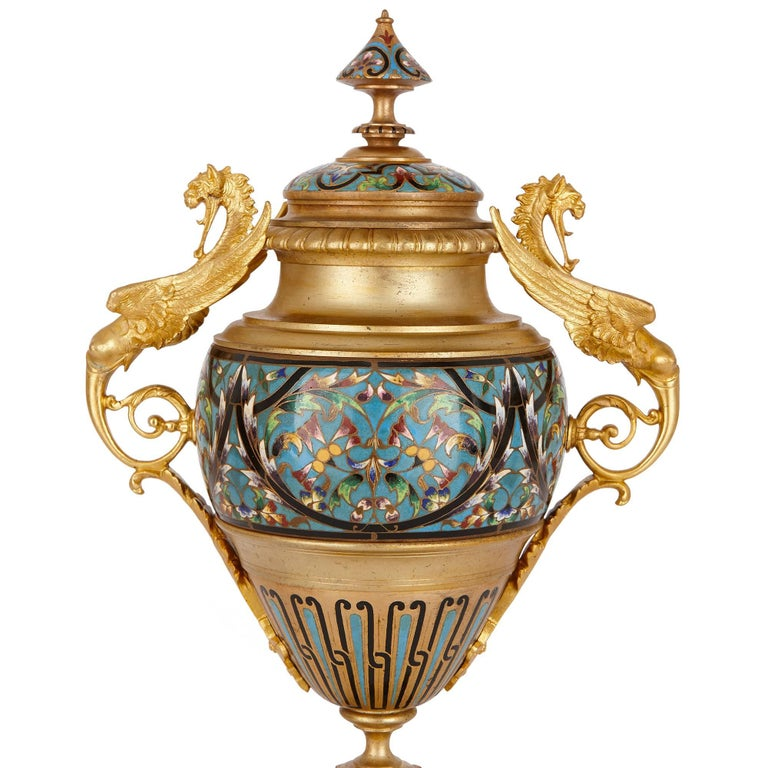 Antique French Neoclassical Style Ormolu and Cloisonne Enamel Clock Set For Sale 3