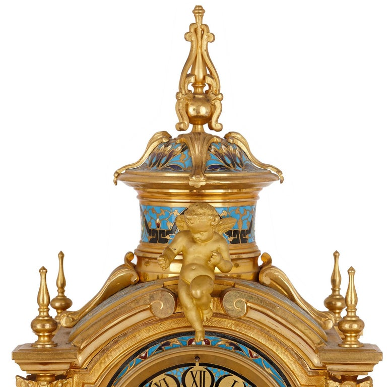 Cloissoné Antique French Neoclassical Style Ormolu and Cloisonne Enamel Clock Set For Sale