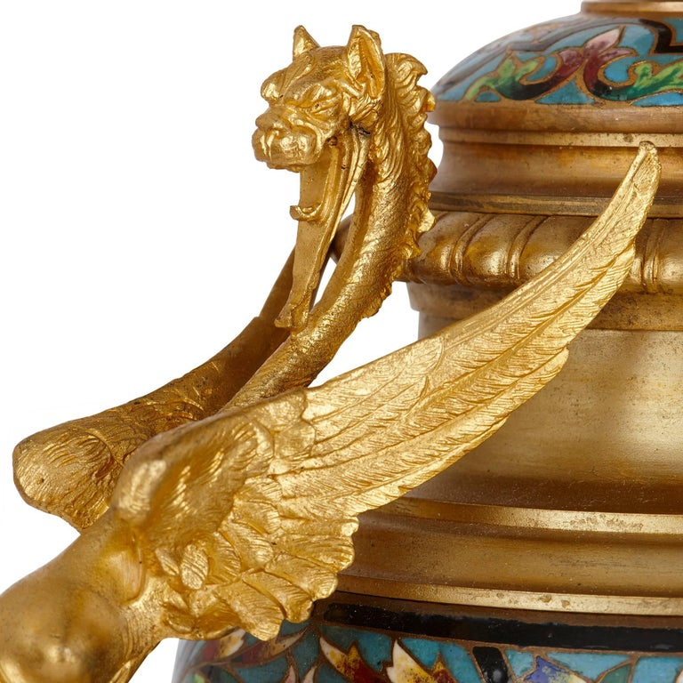 Antique French Neoclassical Style Ormolu and Cloisonne Enamel Clock Set For Sale 4