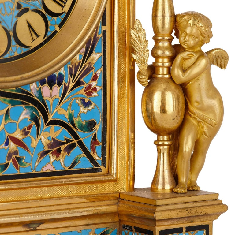 Antique French Neoclassical Style Ormolu and Cloisonne Enamel Clock Set In Excellent Condition For Sale In London, GB