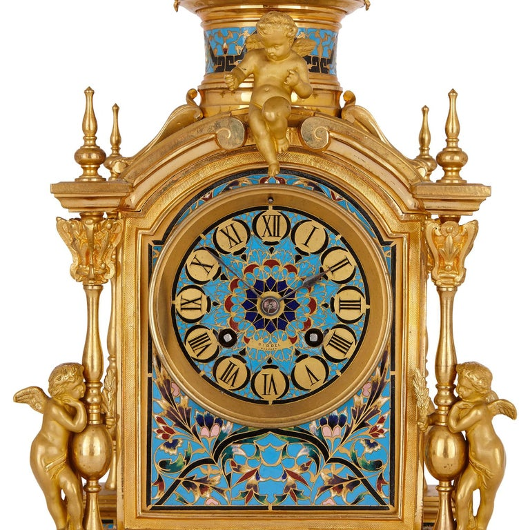 19th Century Antique French Neoclassical Style Ormolu and Cloisonne Enamel Clock Set For Sale