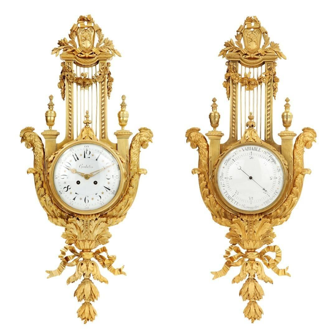 19th Century Neoclassical Style Gilt Bronze Cartel Clock and Barometer