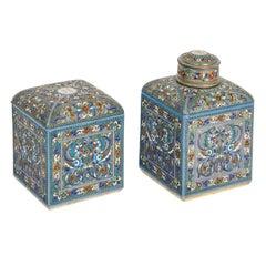 Late 19th Century Pair of Russian Cloisonné Enamel Boxes