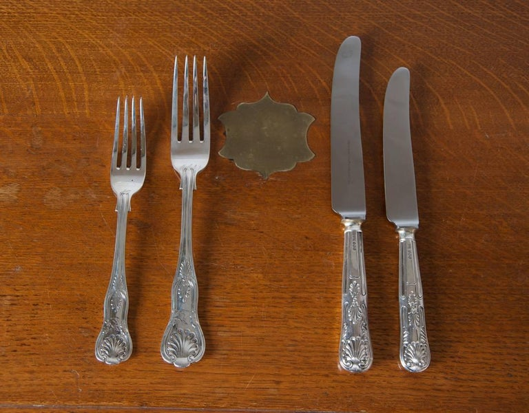 Mid-19th Century James and Josiah Williams Silver Cutlery Service For Sale