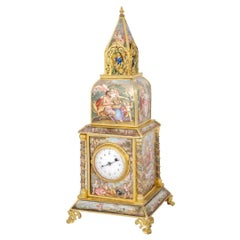 19th Century Viennese Enamel and Silver Gilt Table Clock