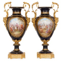 Pair of Antique Gilt Bronze-Mounted Sevres Style Porcelain Vases
