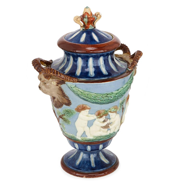 Pair Of Antique Vases With Putti For Sale At 1stdibs