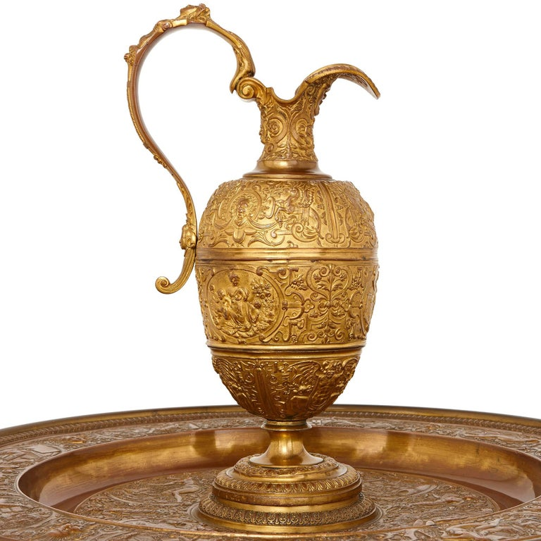 Gilt and Patinated Bronze Ewer on Stand, Attributed to Barbedienne In Good Condition For Sale In London, GB