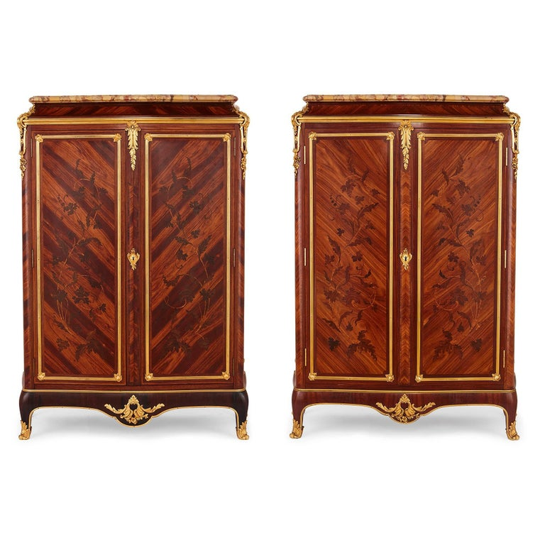 Gervais Durand was an exceptional furniture maker of the later 19th century, known especially for his reproductions of 18th Century works, but also responsible for some strikingly original designs. These cabinets display some of his best work. In